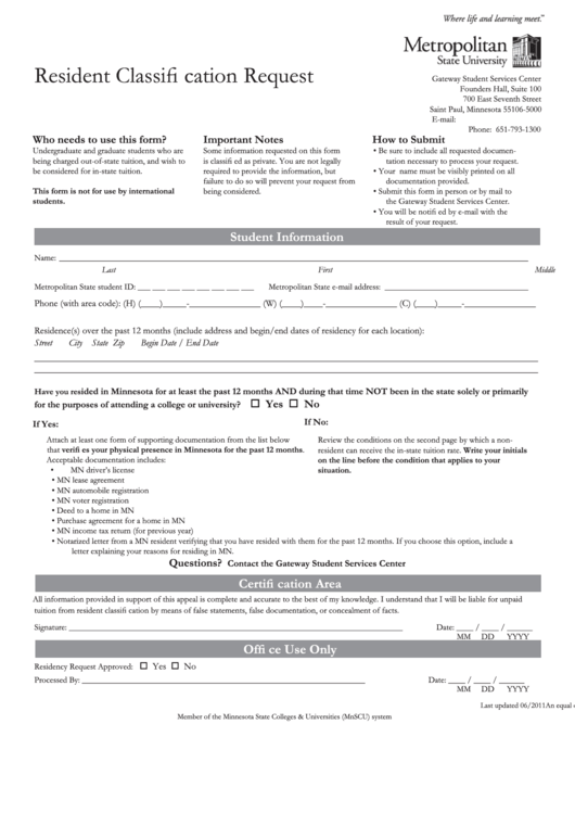 Fillable Resident Classification Request Form - Metropolitan State University Printable pdf