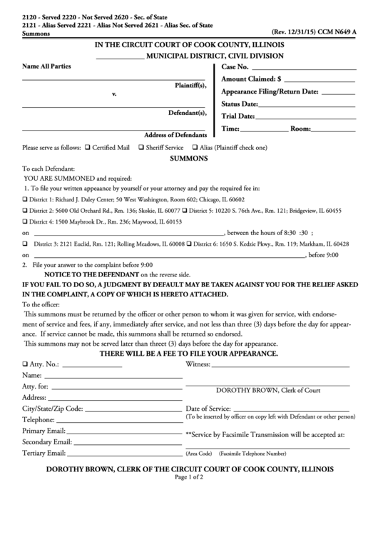 county court summons form