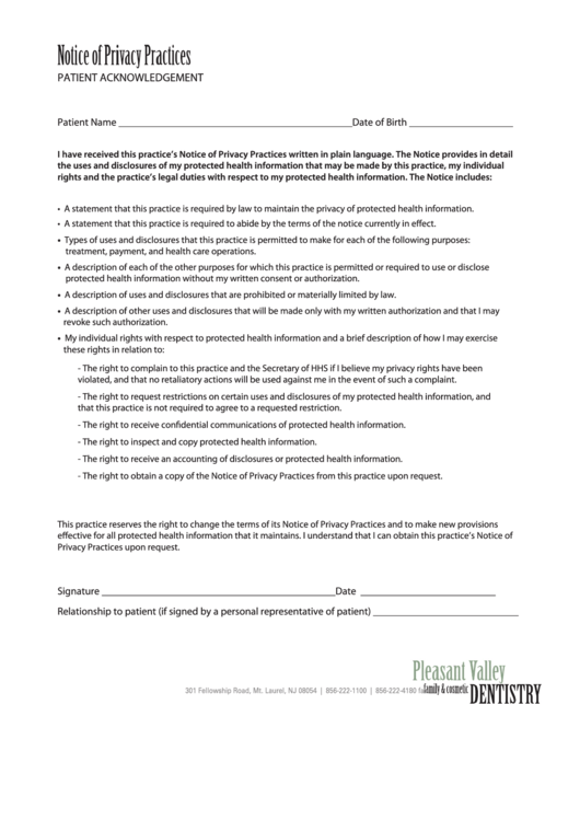 notice of privacy practices template - notice of privacy practices form printable pdf download