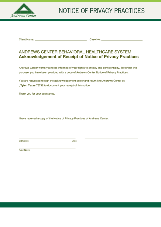 Notice Of Privacy Practices Form Andrews Center