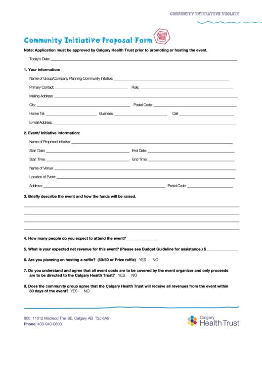 Fillable Community Initiative Proposal Form Calgary Health Trust Printable pdf