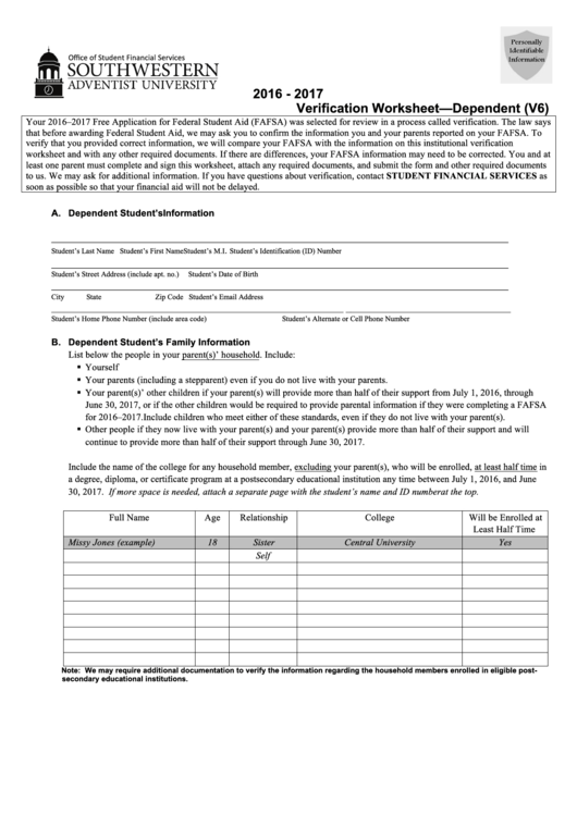 dependent verification worksheet stinksnthings. Black Bedroom Furniture Sets. Home Design Ideas