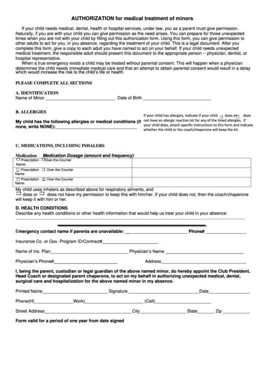 Authorization Form For Medical Treatment Of Minors