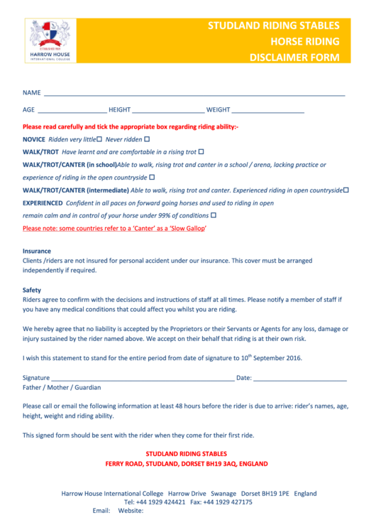 horse riding disclaimer form printable pdf download