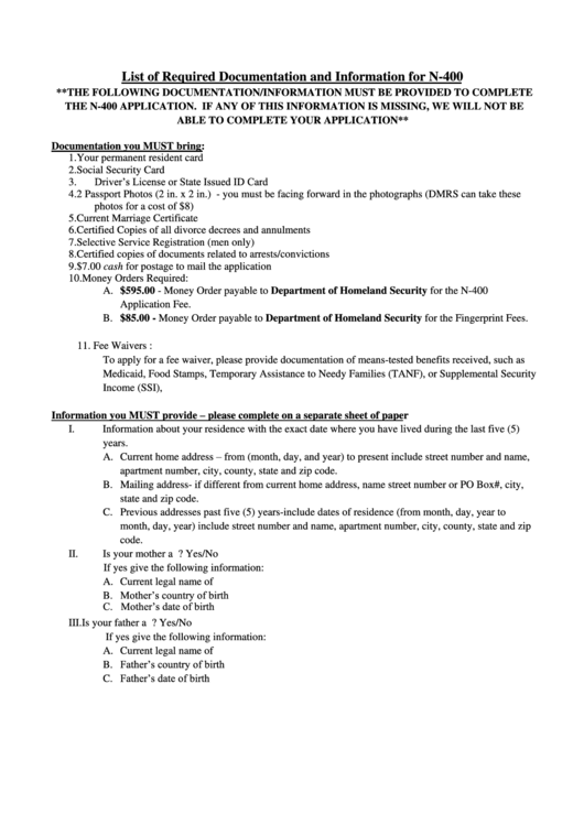 List Of Required Documentation And Information For N-400 Printable pdf