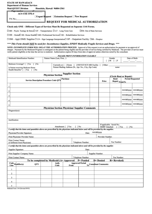 Fillable Request For Medical Authorization - State Of Hawaii Acs Department Of Human Services Printable pdf