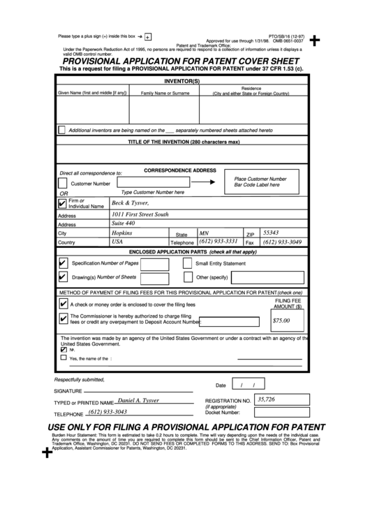 fillable provisional application for patent cover sheet