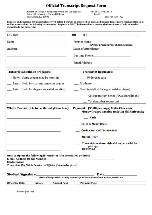 Transcript Request Form - Seton Hill University