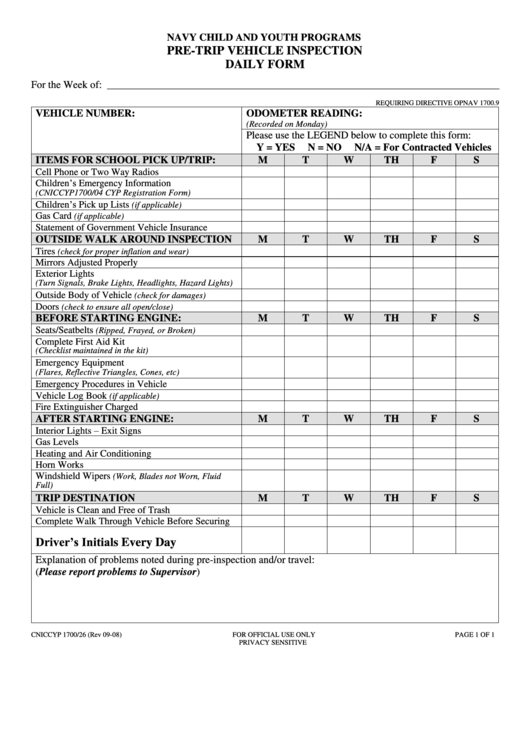 Pre-Trip Vehicle Inspection Daily Form Printable pdf
