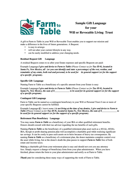 Sample Gift Language For Your Will Or Revocable Living Trust Form