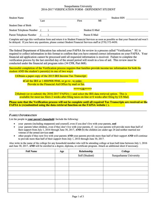 Verification Form Susquehanna University Printable pdf