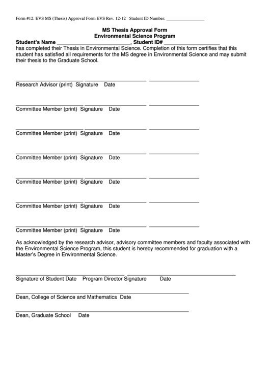 Evs Form 12 Ms Thesis Approval Form Printable pdf