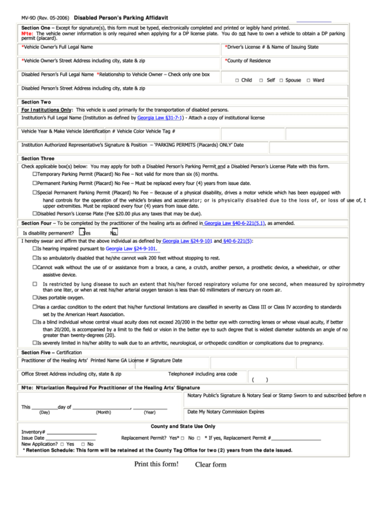 Form Mv-90 - Disabled Person's Parking Affidavit