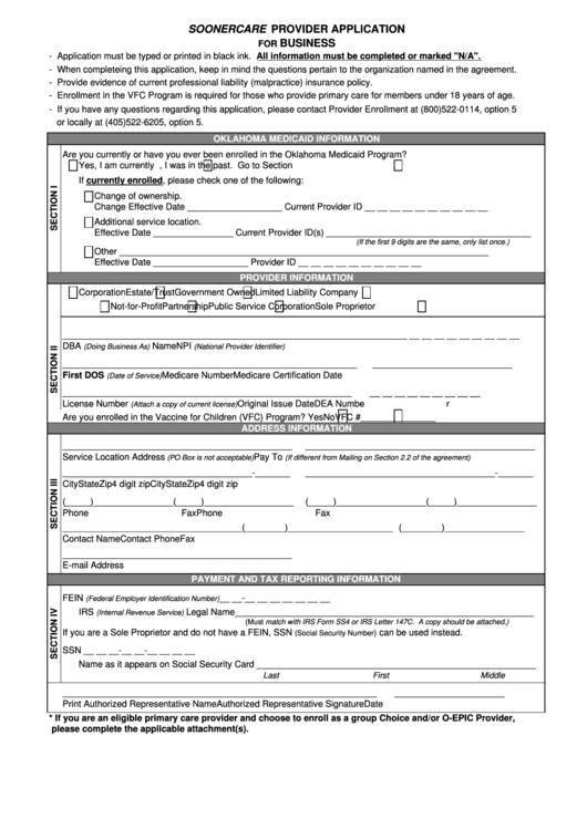 Provider Enrollment Application - The Oklahoma Health Care ...