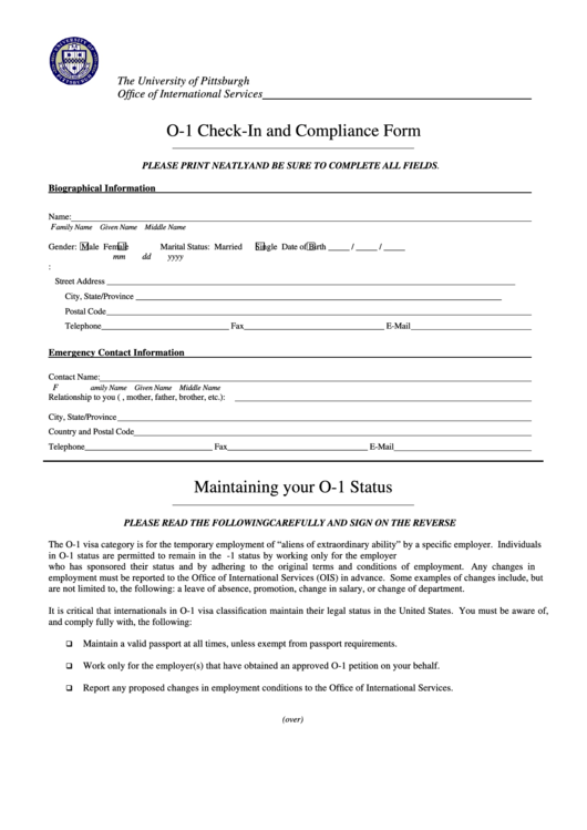 O-1 Check-in And Compliance Form
