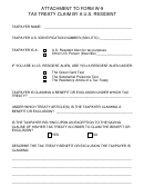 Attachment To Form W-9 - Tax Treaty Claim By A U.s. Resident