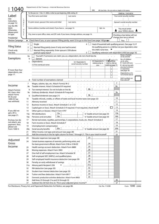 Form 1040 - U.s. Individual Income Tax Return - 2008 Printable pdf