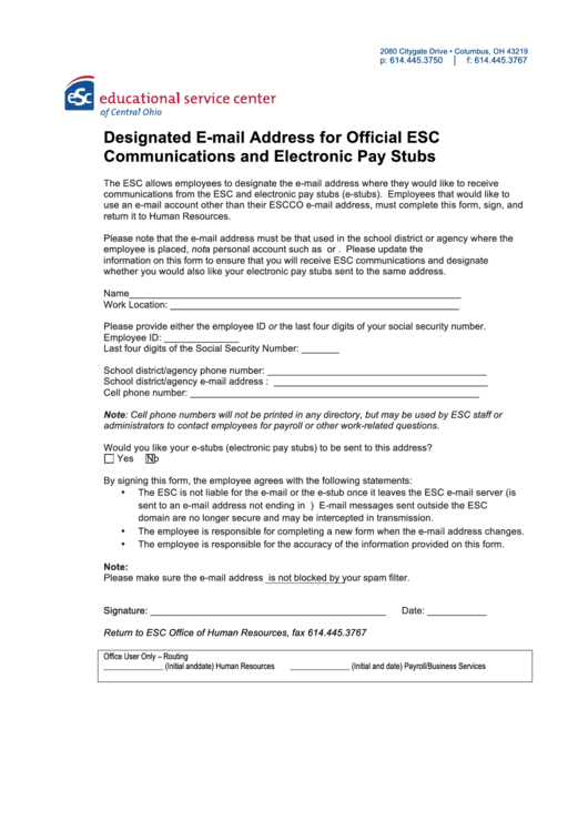 Designated E-mail Address For Official Esc Communications And Electronic Pay Stubs