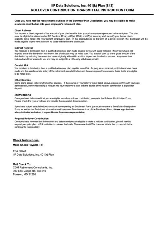 Rollover Contribution Transmittal Instruction Form 401k Printable