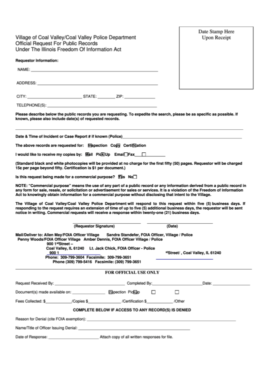 Foia Request Form (Village Of Coal Valley/coal Valley Police