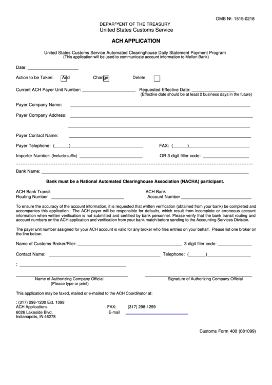 Form 400 Ach Application United States Customs Service Printable