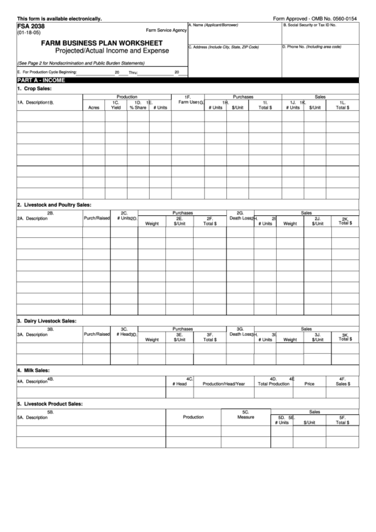 farm business plan worksheet fsa-2038