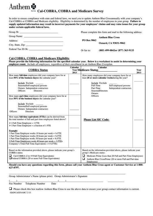 Cal Cobra Cobra And Medicare Survey - Anthem printable pdf ...