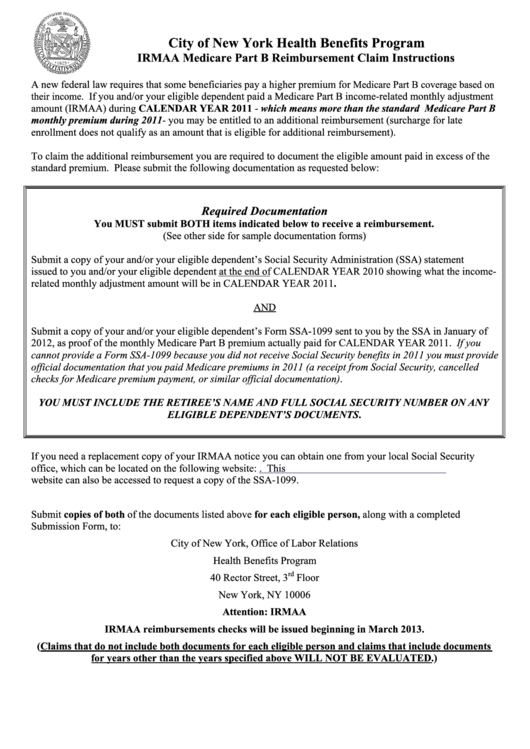 2011 Irmaa Medicare Part B Reimbursement Claim Submission Form ...