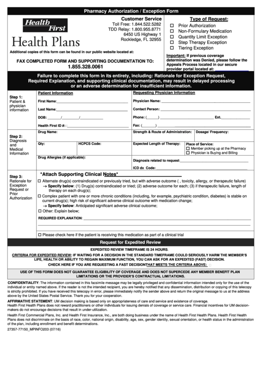 Florida Medicaid Prior Authorization Form Templates. Pharmacy Authorization  Exception Form   Health First