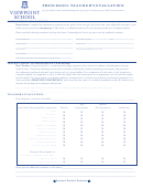 Preschool Teachers Evaluation