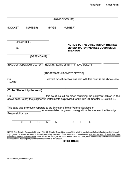 fillable form sr 39 notice to the director of the new