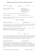 Request For Medical Physical Form Completion