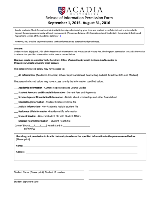 Release Of Information Permission Form