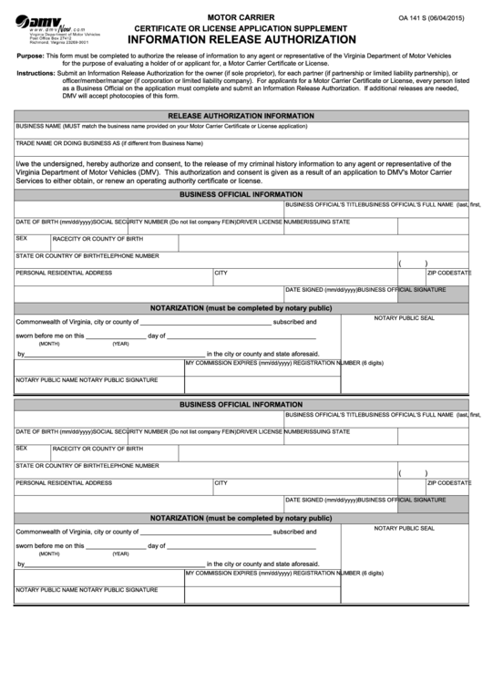 Fillable form oa 141 s motor carrier certificate or for Supplement facts template