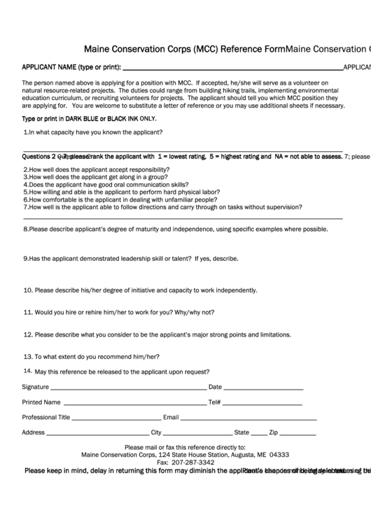 Maine Conservation Corps (mcc) Reference Form Maine Conservation Corps (mcc) Referen