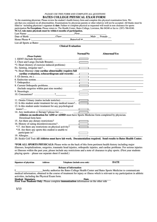College Physical Exam Form printable pdf download