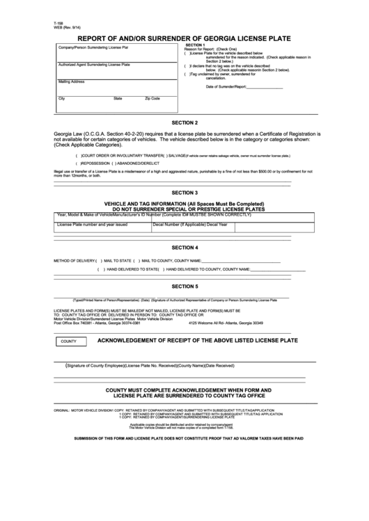 Fillable Form T158 Report Of And Or Surrender Of Georgia License Plate Printable pdf
