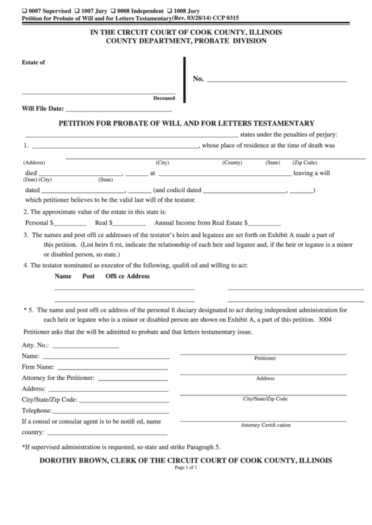 fillable petition for probate of will and for letters testamentary printable pdf