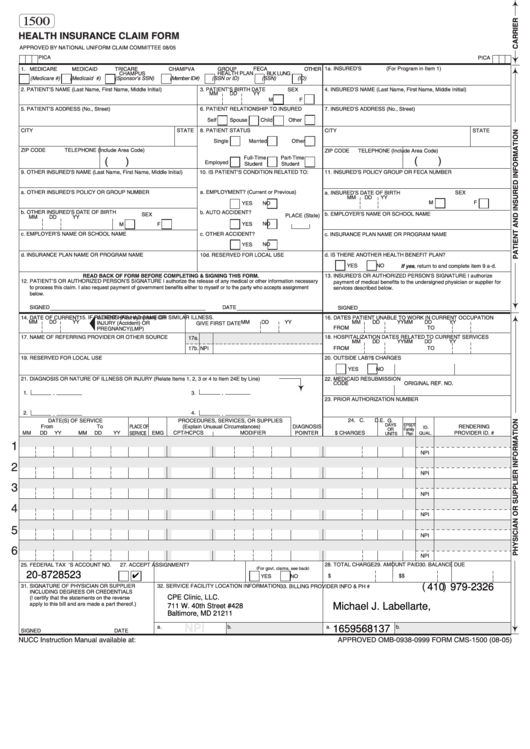 Fillable Form 1500 - 2005 Health Insurance Claim Form ...