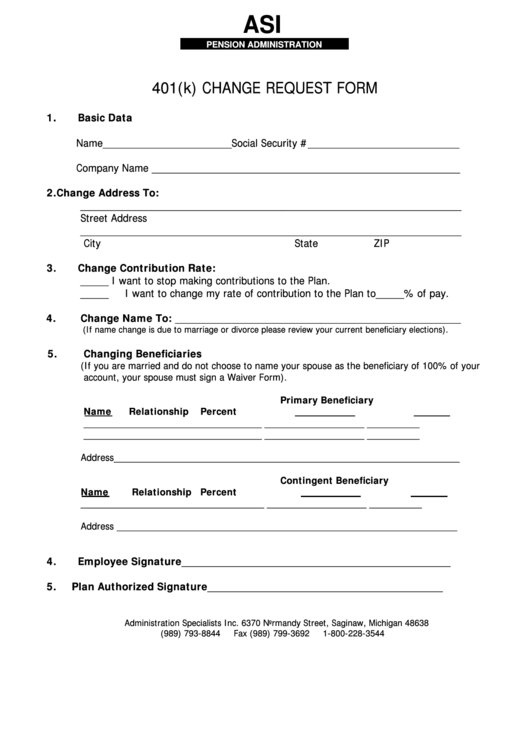 401k Enrollment Form Templates. 401(k) Change Request Form  Enrollment Form Format