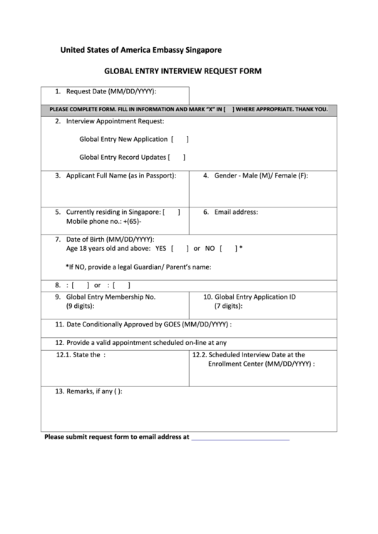 United States Of America Embassy Singapore - Global Entry Interview Request Form Printable pdf