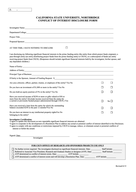 Fillable California State University, Northridge Conflict Of Interest Disclosure Form Printable pdf