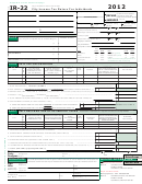 Form Ir-22 - City Income Tax Return For Individuals - 2012