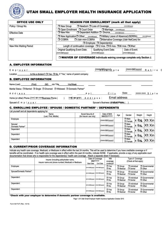 Form 5217ut - Utah Universal Small Employer Application ...