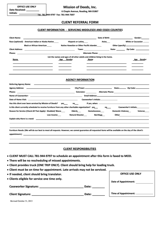 Mission Of Deeds Client Referral Form