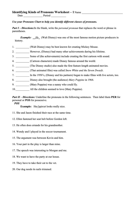 Identifying Kinds Of Pronouns Worksheet - Usp Theses Collection