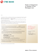 Notice Of Assignment Or Transfer Of Your Mortgage Loan - Ctbc Bank