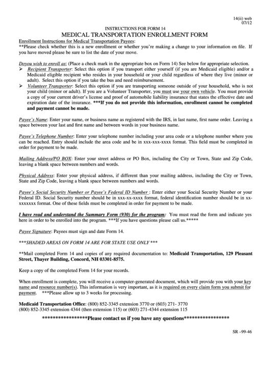 Medicaid Transportation Enrollment Form printable pdf download
