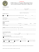 Child Abuse Or Neglect Reporting Form - Confidential