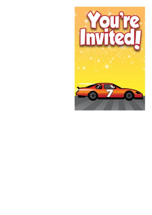 Stock Car Invitation Printable pdf